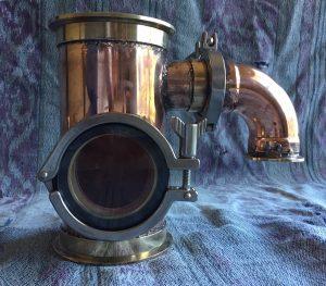 gin basket, copper gin basket, sight glass, brass tri-clamp ferrule, still column, copper still, gin distillation, copper bend, copper elbow