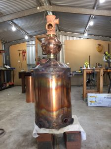copper boiler, copper still, copper moonshine boiler, brass tri-clamp ferrules, gin basket, distillation cloumn, moonshine pot still, copper pot still, copper pot still belly, Claudia