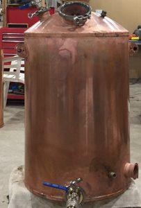 copper boiler, copper still, copper moonshine boiler, brass tri-clamp ferrules, gin basket, distillation cloumn, moonshine pot still, copper pot still, copper pot still belly, Claudia