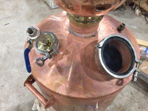 copper boiler, copper still, copper moonshine boiler, brass tri-clamp ferrules, gin basket, distillation cloumn, moonshine pot still, copper pot still, copper pot still belly, Claudia, sight glass, poring port