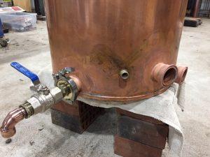 copper boiler, copper still, copper moonshine boiler, brass tri-clamp ferrules, gin basket, distillation cloumn, moonshine pot still, copper pot still, copper pot still belly, Claudia, thermowell