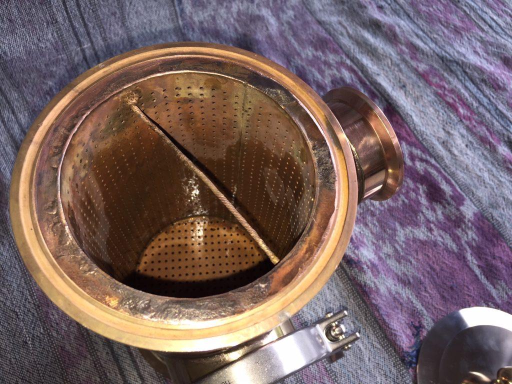 gin basket, copper gin basket, sight glass, brass tri-clamp ferrule, copper still, copper pot still, gin distillation, copper bend, copper elbow