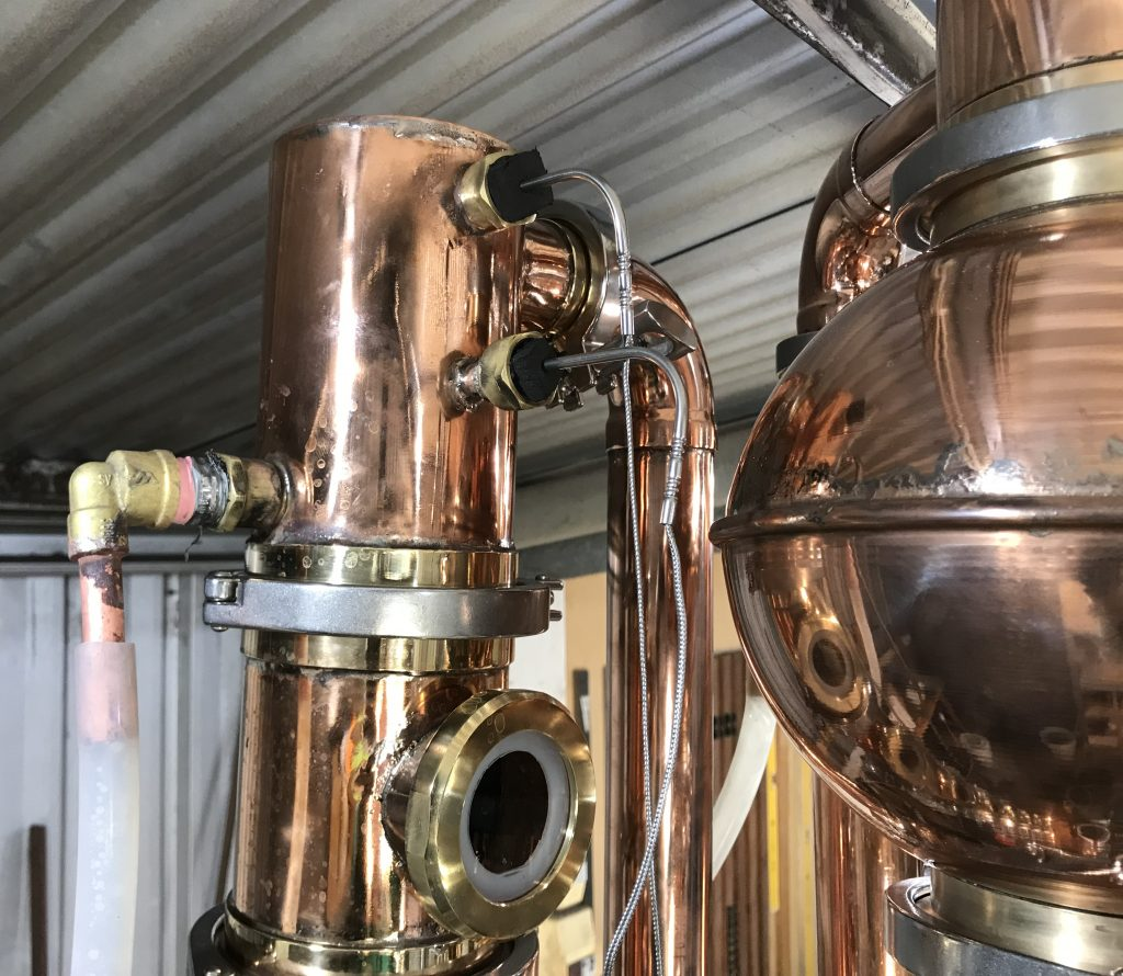 "copper dephlegmator, shotgun condenser, condenser, copper condenser, 4"" condenser, 4 inch condenser, 100mm condenser, brass tri-clamp ferrules, copper distillation equipment, copper distillation column, copper distillation components, reducer, 4x2"" reducer, sight glass, 2"" sight glass"